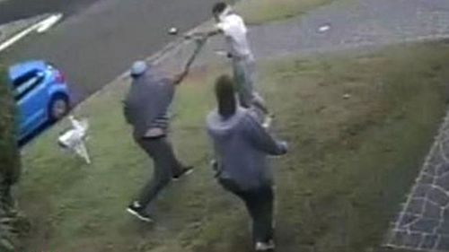 Heroic neighbours come to the defence of Wayne Greenhalgh and try to disarm Ihsas Khan. Picture: A Current Affair