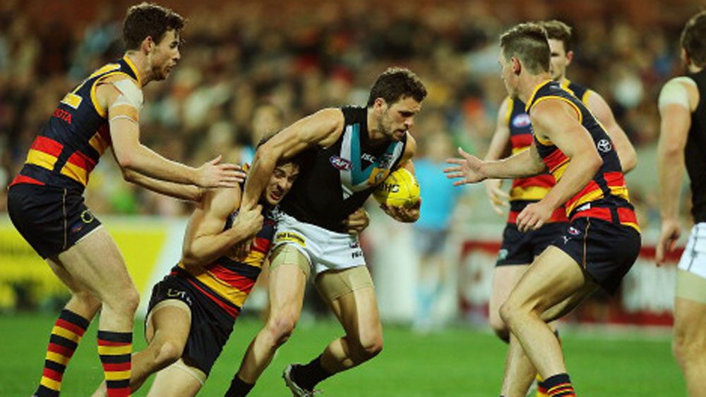 Travis Boaks in action against Adelaide. (Getty)