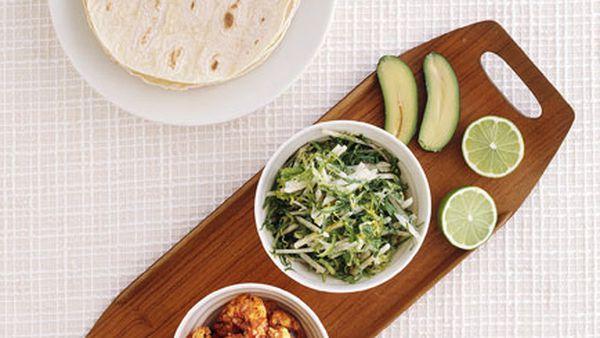 Prawn tacos with jicama slaw