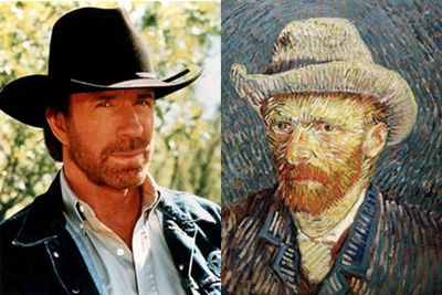 Wow, martial arts master Chuck Norris is also a master of the arts. Yep, that's right, Chuck used to be none other than Dutch post-Impressionist, Van Gogh.