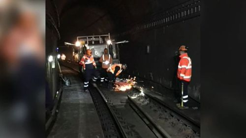 The emergency track work was conducted between Town Hall and Wynyard stations.