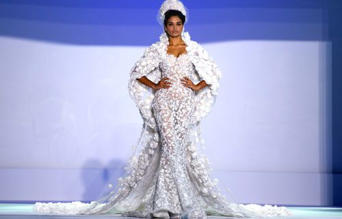 The collection featured a number of stunning wedding gowns. (Getty)