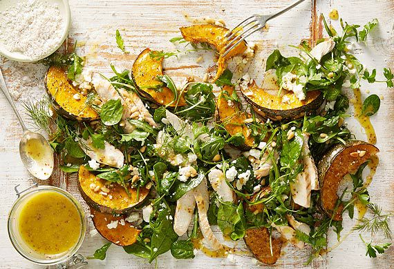 Roast pumpkin, chicken and honey mustard salad