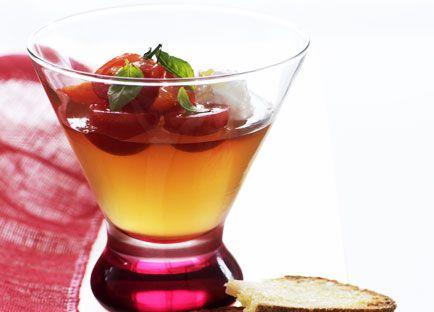 Jellied tomato consommé
