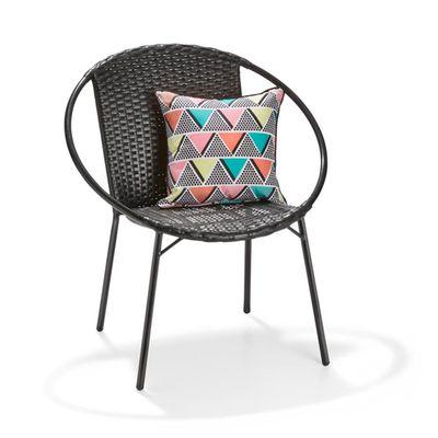 "Lunar wicker chair in black, $29 <a href=""http://www.kmart.com.au/product/luna-wicker-chair---black/950307"" target=""_blank"">Kmart</a>"