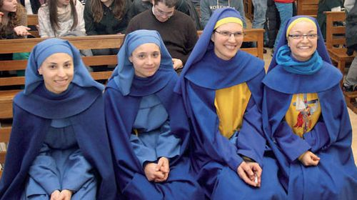 Olalla Oliveros, second from right, with other nuns.