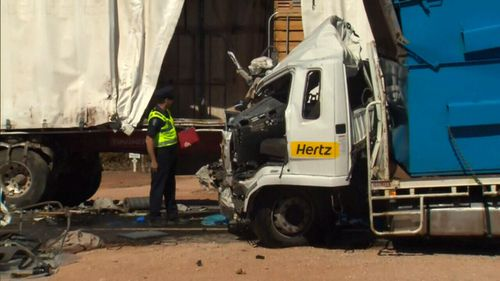 The truck driver's 58-year-old passenger is in a critical condition. (9NEWS)