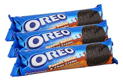 Oreo Peanut Butter and Chocolate: 3.4g sugar per biscuit