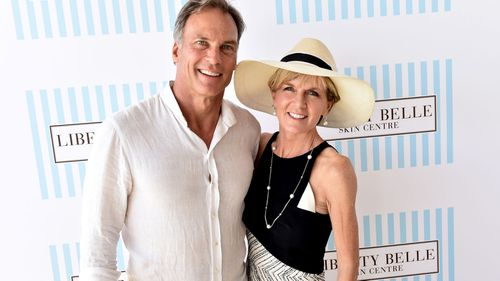 David Panton and Minister for Foreign Affairs Julie Bishop pose for photos in the Liberty Belle marquee at Portsea Polo in Melbourne. (AAP)