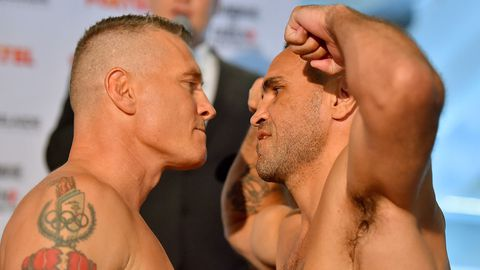 Boxers Danny Green and Anthony Mundine during the official weigh-in