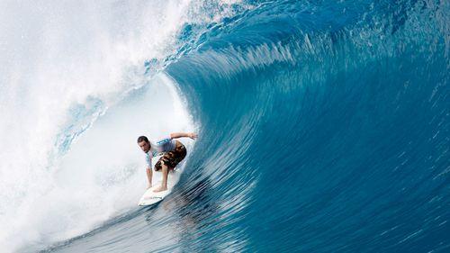 Australian Koby Abberton surfing in Tahiti in 2007. (AAP)