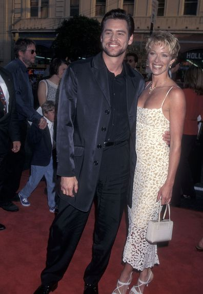 Jim Carrey and Lauren Holly attend The Cable Guy Hollywood Premiere on June 10, 1996 at the Mann's Chinese Theatre in Hollywood, California.