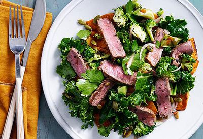 "Recipe: <a href=""/recipes/ibeef/9037843/spiced-beef-pumpkin-and-kale-salad"" target=""_top"">Spiced beef, pumpkin and kale salad</a>"