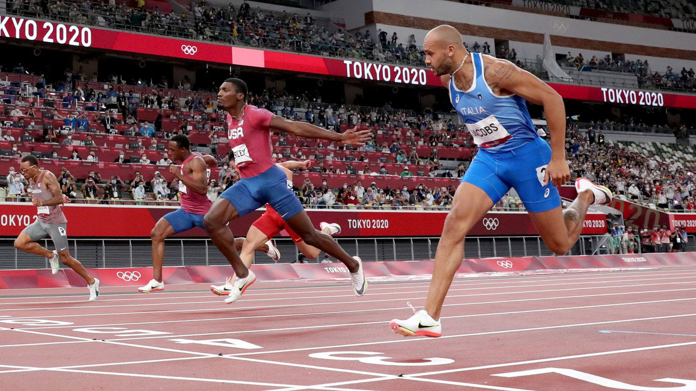 Jacobs claims the men's 100m final.
