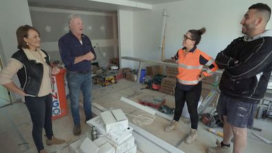 Scotty and Shelley are impressed with Sarah and George's progress. The Block 2020.