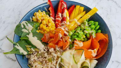 Colourful rainbow salad recipe