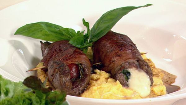 Beef involtinis with creamy polenta