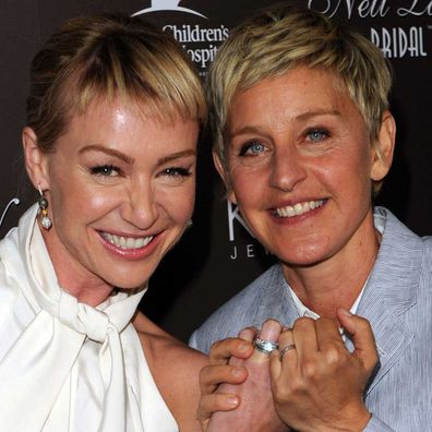 Portia de Rossi and Ellen DeGeneres arrive at Neil Lane's debut of his new bridal collection with Kay Jewelers in 2010.