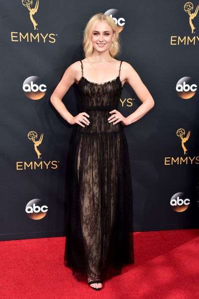 7. Sophie Turner, Valentino dress, Louis Vuitton shoes