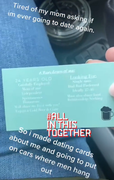 Woman hands out business cards to find love mother wants her to date again