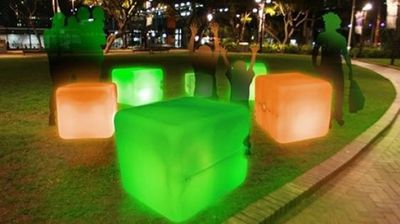 "As part of the ""night time playground for big kids and small kids alike"" promised by Vivid 2015 Light Curator Anthony Bastic, the festival presents Duck Duck Goose.  Illuminated container drums respond to touch, sound and ambient light, in a game that is sure to impress festivalgoers of all ages."