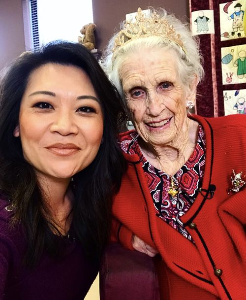 Perth great-grandmother Molly Robinson was surprised by 9News journalist Tracey Vo at her 100th birthday celebrations.