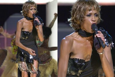 "In 2001, Whitney's extremely thin appearance at a Michael Jackson 30th Anniversary performance shocked fans, spurring further rumours of a drug habit. Her publicist released a statement that said: ""Whitney has been under stress due to family matters, and when she is under stress she doesn't eat."""