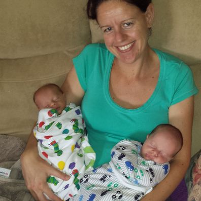 Rohanne Tiefel with twins Lucas and DOminic, before Lucas was diagnosed with Sanfilippo.