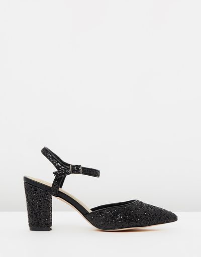 """<a href=""""https://www.theiconic.com.au/elodie-494470.html"""" target=""""_blank"""" draggable=""""false"""">Nude Footwear Elodie Shoes in Black Glitter, $159.95</a><br>"""