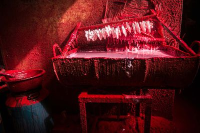 <p>From 2001 till now, the booming Christmas production industry there grew from a mere 10 factories to more than 600. </p><p> The village produces 60 percent of the world's Christmas decorations and more than 90 percent of China's. </p><p> Pictured are plastic snowflakes being dried as red powder hovers in the air.</p><p> </p>