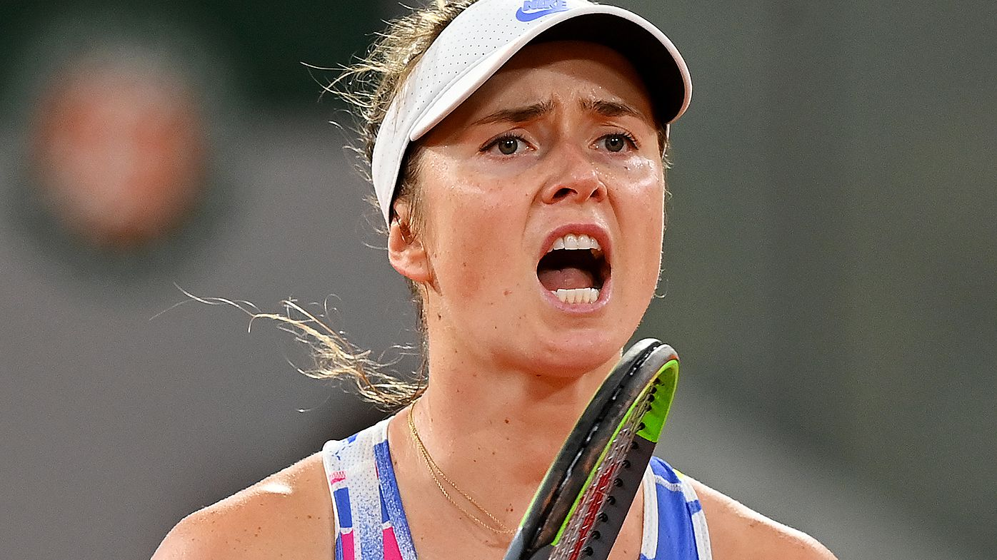 Elina Svitolina of Ukraine celebrates after winning a point