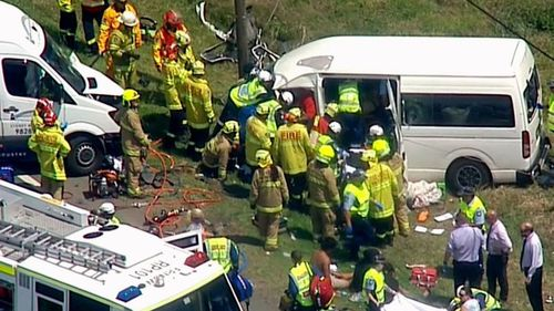 A Toyota Hiace mini bus carrying nine members of the same family from Griffith collided with a Mercedes Benz commercial van. (9NEWS)