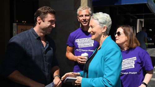 Independent candidate for Wentworth Kerryn Phelps speaks with constituents in Double Bay, Sydney.