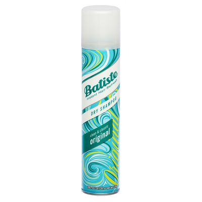 "<p><strong><a href=""http://www.chemistwarehouse.com.au/buy/70048/Batiste-Original-Dry-Shampoo-200ml?gclid=EAIaIQobChMI9e2EvLz52QIVGh4rCh1NqA1HEAkYCSABEgL2PPD_BwE"" target=""_blank"" draggable=""false"">Batiste Original Dry Shampoo</a>,</strong> $8.99</p> <p>""People ask how I get my hair so voluminous, the answer is this stuff,"" tells Sarah. ""Bit of a quick spritz and then a mix it up and all of a sudden you have all this 'omphy' hair! I have hair extensions too, my hair is only about two inches shorter than the extensions but you just feel so much more jzeushed up when you've got omphy hair.""</p>"