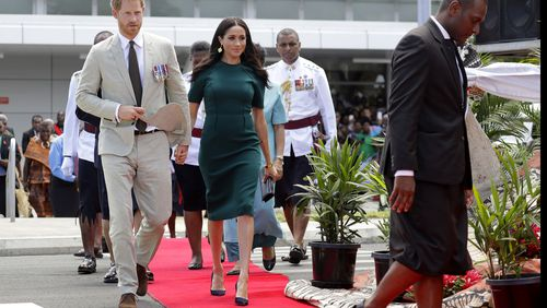 Meghan and Harry wear traditional dress on final day of Tongan visit