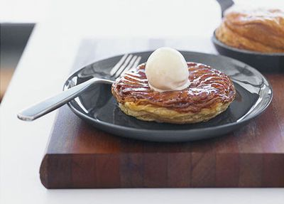 "Recipe: <a href=""http://kitchen.nine.com.au/2016/05/17/14/25/banana-tarte-tatin-with-nutmeg-icecream"" target=""_top"">Matt Moran's banana tarte tatin with nutmeg ice-cream</a>"
