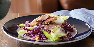 Duck confit salad with walnuts, witlof and red cabbage