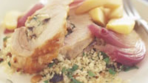 Pork loin with couscous and apples