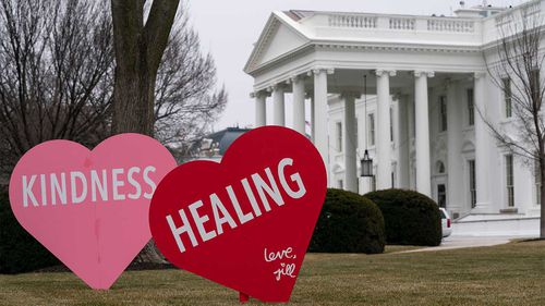 Valentine's Day hearts placed outside the White House by the office of the First Lady.