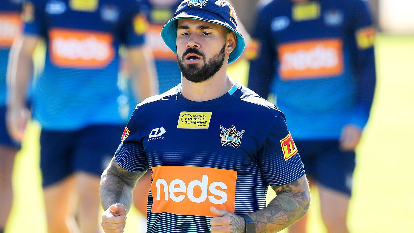Nathan Peats in action during a Gold Coast Titans NRL training session