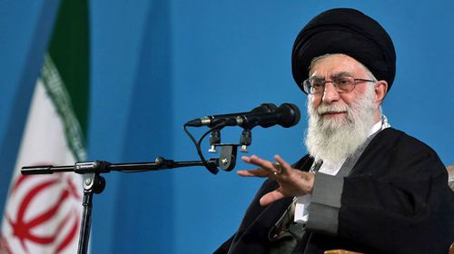 Supreme Leader Ayatollah Ali Khamenei makes a speech to a group of air force members in Tehran, Iran. (AAP)
