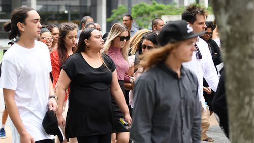 Family and supporters of Tristan Heather leave the Supreme Court after his sentencing. (AAP)