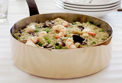 Thursday: Prawn risotto with sweet spring peas and treviso radicchio