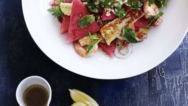 Prawn, haloumi and watermelon salad
