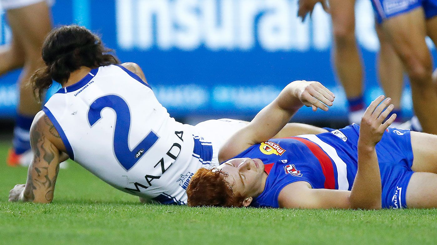 Majak Daw's AFL return marred by teammate's ugly late hit on Bulldogs star Ed Richards in pre-season