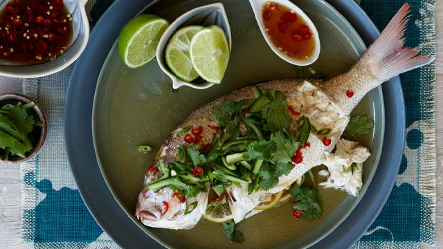 Steamed snapper with nahm pla prik