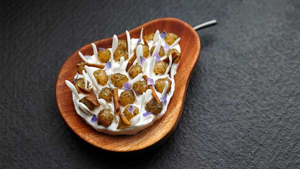 Attica's gingered pears with ice-cream and Maidenii vermouth. Image: www.attica.com.au