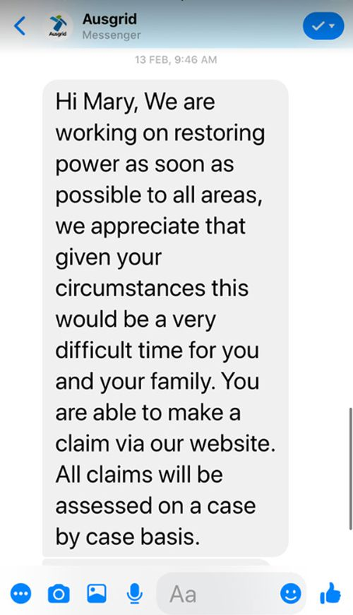 A reply from Ausgrid Mary received five days after power went out.