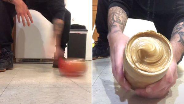 Spinning jars of peanut butter