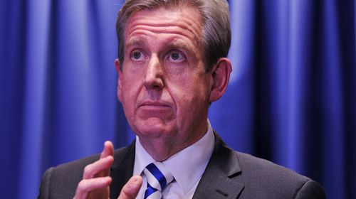 Barry O'Farrell announces his resignation. (AAP)